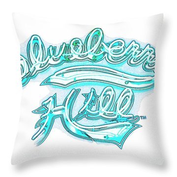 Blueberry Hill Inverted In Neon Blue Throw Pillow