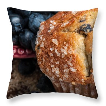 Blueberry Muffins Throw Pillow by Brandon Bourdages