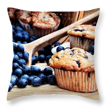 Blueberry Muffins Throw Pillow by Stephanie Frey