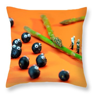 Blueberry Protesting Throw Pillow by Paul Ge