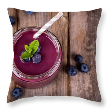 Blueberry Smoothie Throw Pillow by Jane Rix