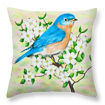 Bluebird And Dogwood Throw Pillow
