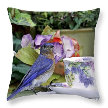 Bluebird And Tea Cups Throw Pillow