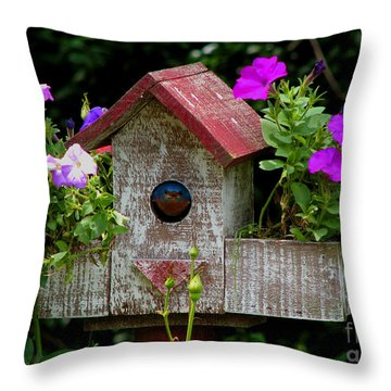 Bluebird House Throw Pillow