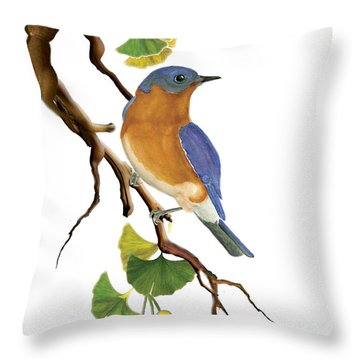 Throw Pillow featuring the painting Bluebird In Ginkgo Tree by Anne Beverley-Stamps