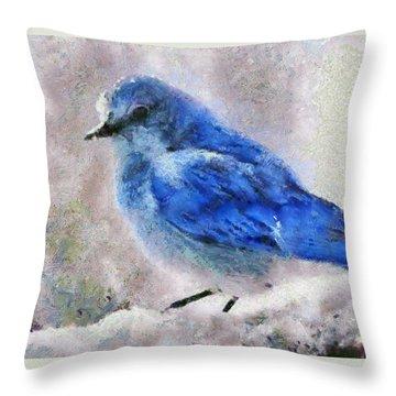 Bluebird In Snow Throw Pillow