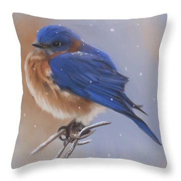 Bluebird In The Snow Throw Pillow by Lena Auxier