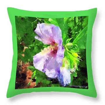 Bluebird Rose Of Sharon Throw Pillow