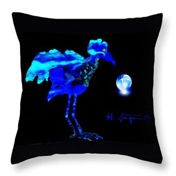 Throw Pillow featuring the painting Bluebird Watching by Hartmut Jager