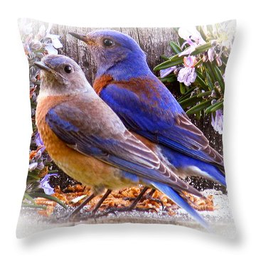 Bluebird Wedding Throw Pillow