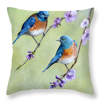 Bluebirds And Blossoms Throw Pillow by Debbie Hart
