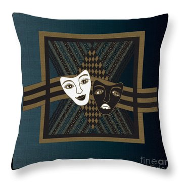 Throw Pillow featuring the digital art Blueblack Janus Masks by Megan Dirsa-DuBois