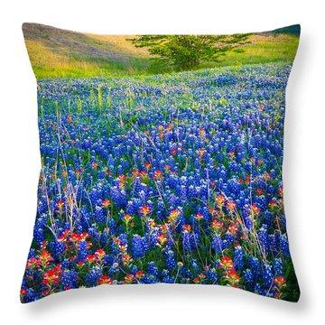 Bluebonnet Carpet Throw Pillow