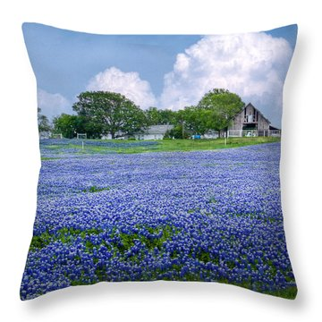 Bluebonnet Farm Throw Pillow