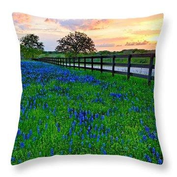 Bluebonnet Fields Forever Brenham Texas Throw Pillow