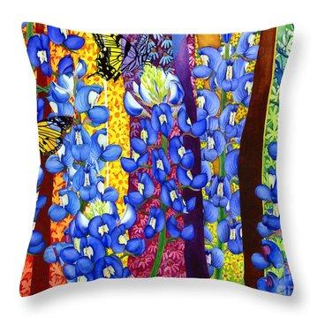 Bluebonnet Garden Throw Pillow