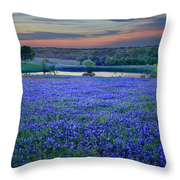 Bluebonnet Lake Vista Texas Sunset - Wildflowers Landscape Flowers Pond Throw Pillow by Jon Holiday