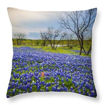 Bluebonnet Mood Throw Pillow
