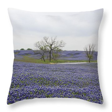 Throw Pillow featuring the photograph Bluebonnet Oasis by Jerry Bunger