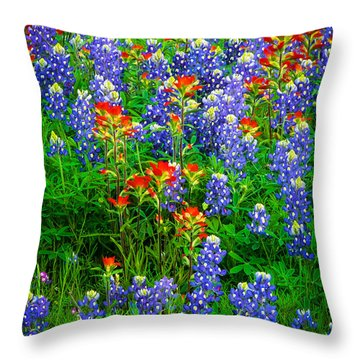 Bluebonnet Patch Throw Pillow by Inge Johnsson