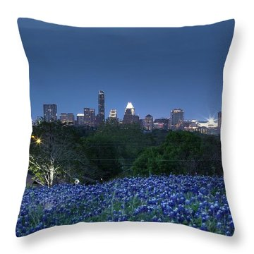 Bluebonnet Twilight Throw Pillow by Dave Files