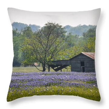 Bluebonnets By The Barn Throw Pillow