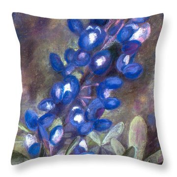 Bluebonnets Throw Pillow by Julie Maas