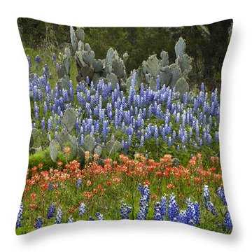 Throw Pillow featuring the photograph Bluebonnets Paintbrush And Prickly Pear by Tim Fitzharris