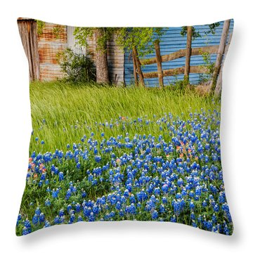 Bluebonnets Swaying Gently In The Wind - Brenham Texas Throw Pillow