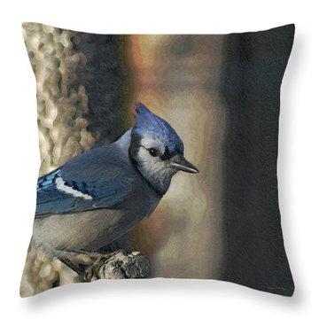 Bluejay Digitally Enhanced Throw Pillow by Ernie Echols
