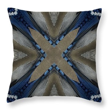 Bluejay Feathers Throw Pillow
