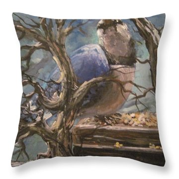 Throw Pillow featuring the painting Bluejay by Megan Walsh