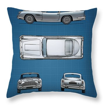 Blueprint Aston Martin Db5 Throw Pillow