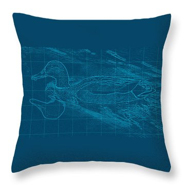 Blueprint Of A Duck Throw Pillow by Rita Mueller