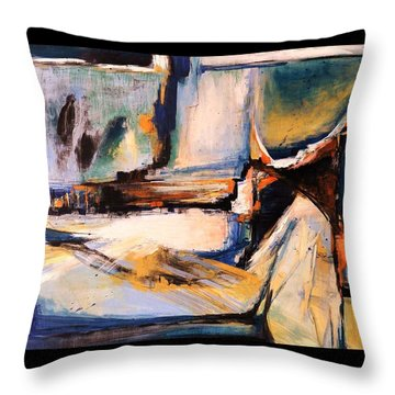 Blues And Orange Throw Pillow by Glory Wood
