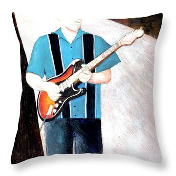 Blues Guitarist Tony Fazio Throw Pillow