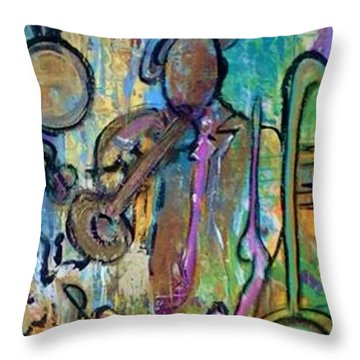 Blues Jazz Club Series Throw Pillow by Kelly Turner