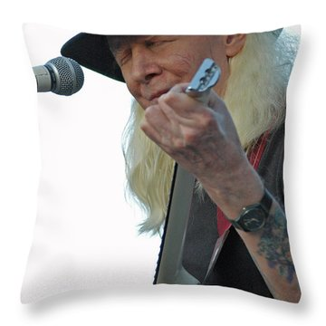 Bluesman Johnny Winter Throw Pillow by Mike Martin