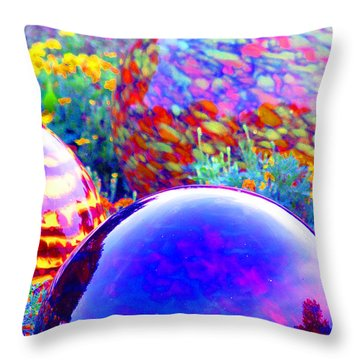 Bluesphere With Flowers Throw Pillow