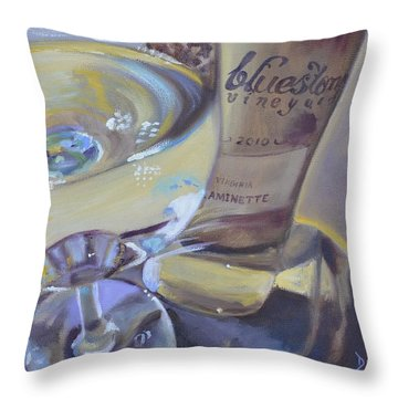 Bluestone Traminette And Glass Throw Pillow by Donna Tuten