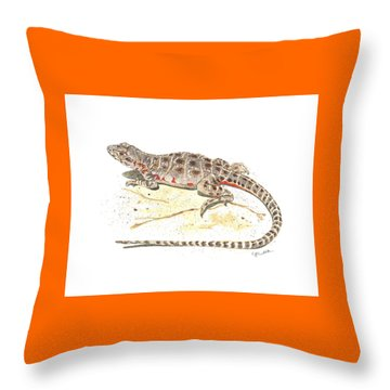 Blunt-nosed Leopard Lizard  Throw Pillow by Cindy Hitchcock