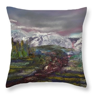 Throw Pillow featuring the painting Blurred Mountain by Jan Dappen
