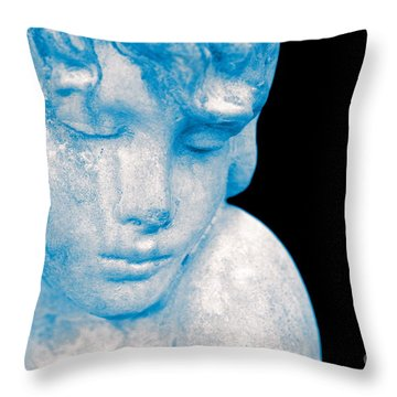 Blush Blue Throw Pillow by Cathy Dee Janes