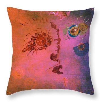 Blushing Bot Throw Pillow by Fran Riley