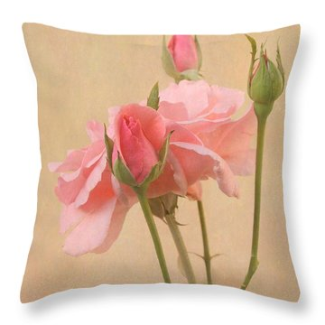 Blushing Pink Throw Pillow by Angie Vogel