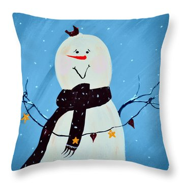 Blushing Snowman Throw Pillow by Chastity Hoff