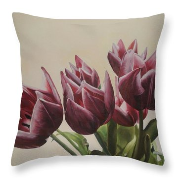Blushing Tulips Throw Pillow by Cherise Foster