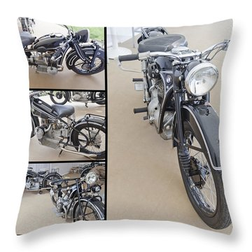 Bmw Art Deco Bikes Throw Pillow by Maj Seda