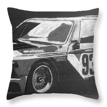 Throw Pillow featuring the painting Bmw 3.0 Csl Alexander Calder Art Car by Richard Le Page