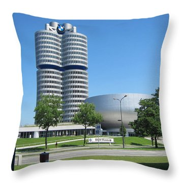 Throw Pillow featuring the photograph Bmw Head Quaters by Pema Hou